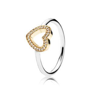 PANDORA Sterling-Silber Ring mit 14-K-Gold Herz und Zirkonia Schmucksteinen CHF 189.--
