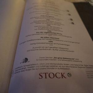 Menukarte – Stock Resort 5 Sterne Hotel im Tirol