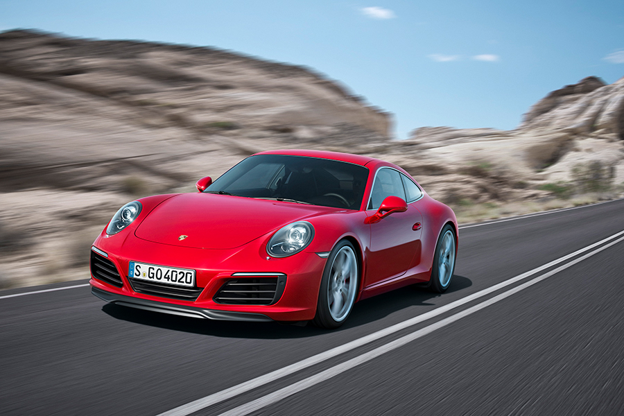 Neuer Porsche 911 Carrera roter Sportwagen