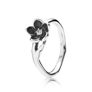PANDORA Sterling-Silber Ring mit Zirkonia-Schmucksteinen und schwarzer Emaille CHF 59